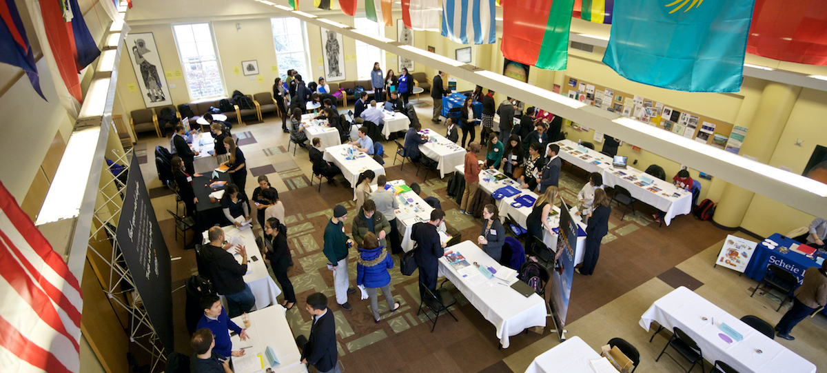 Overhead shot of student participating in a STEM Recruiting event