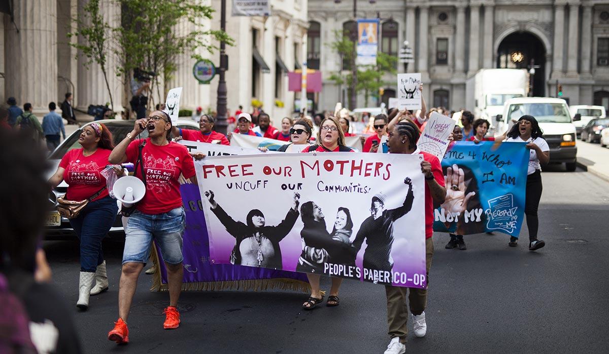 People's Paper Co-Op marching in Philadelphia