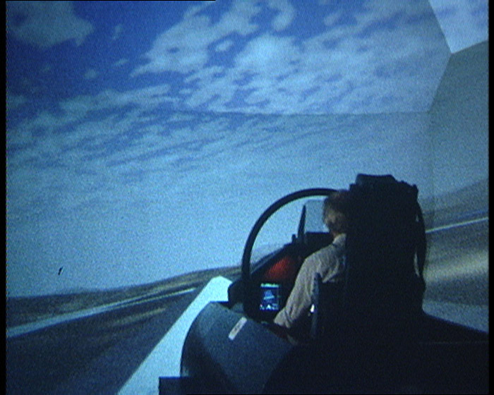 Ariel photography projected onto a screen of a flight simulator