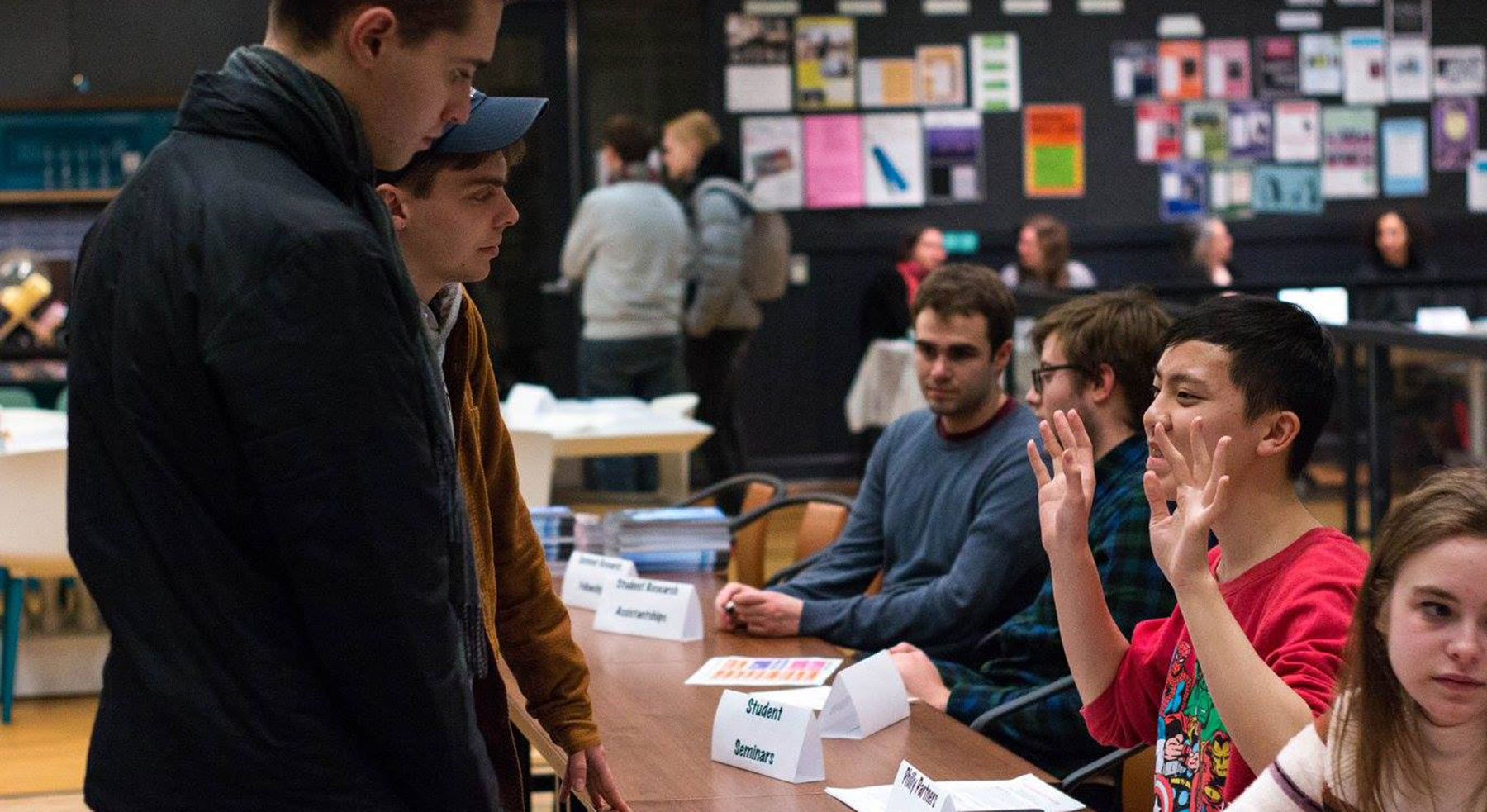 Students interacting at the HCAH open house