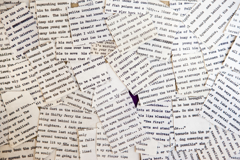Bits of printed poetry ripped up and thrown together in a pile