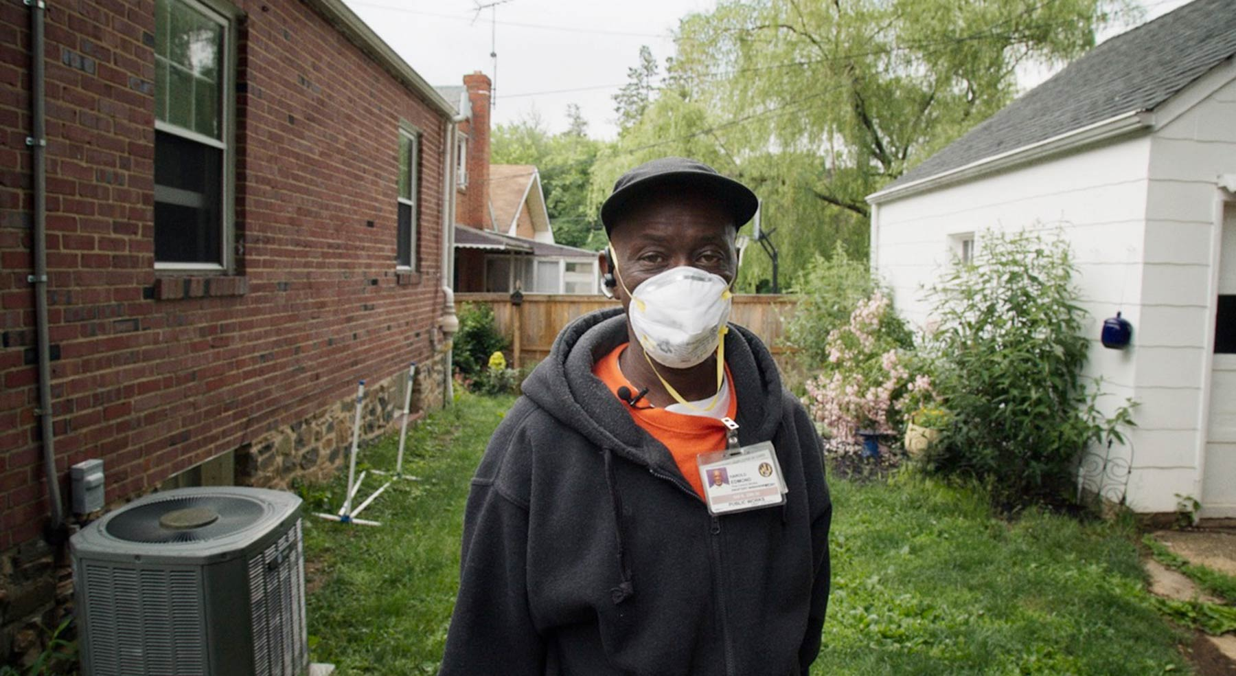 A man wearing a dust mask