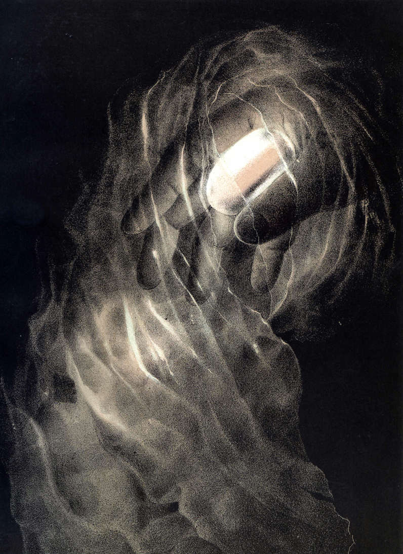 A disembodied hand holding a crystal with smoke and light billowing out of the palm