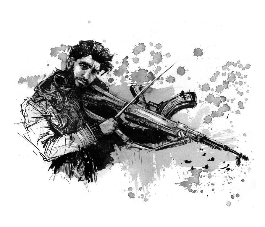 Ink drawing of a man playing an assault rifle like a violin