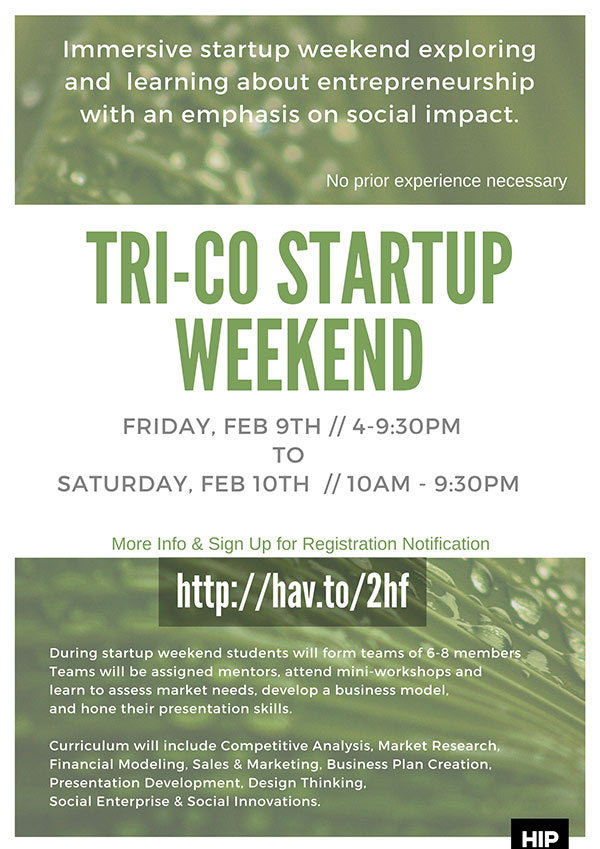 Poster for Tri-Co Startup Weekend