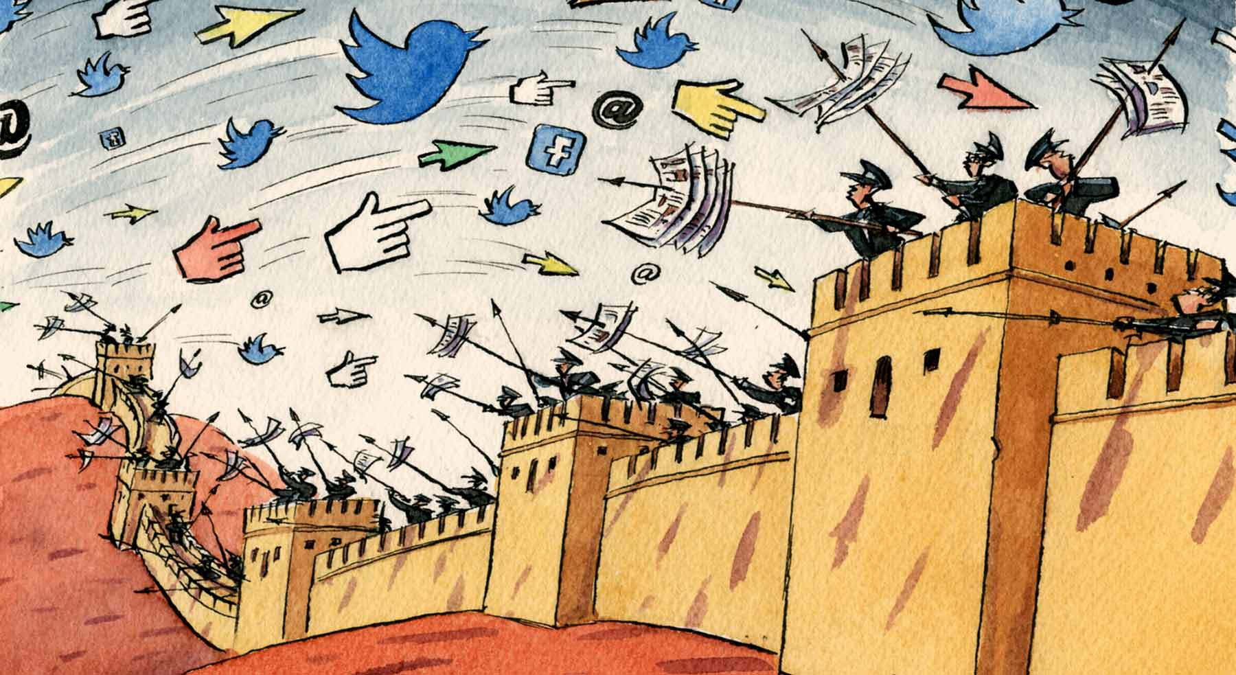 Soldiers mounted along a wall fend off social media attempts to make it through their blockade
