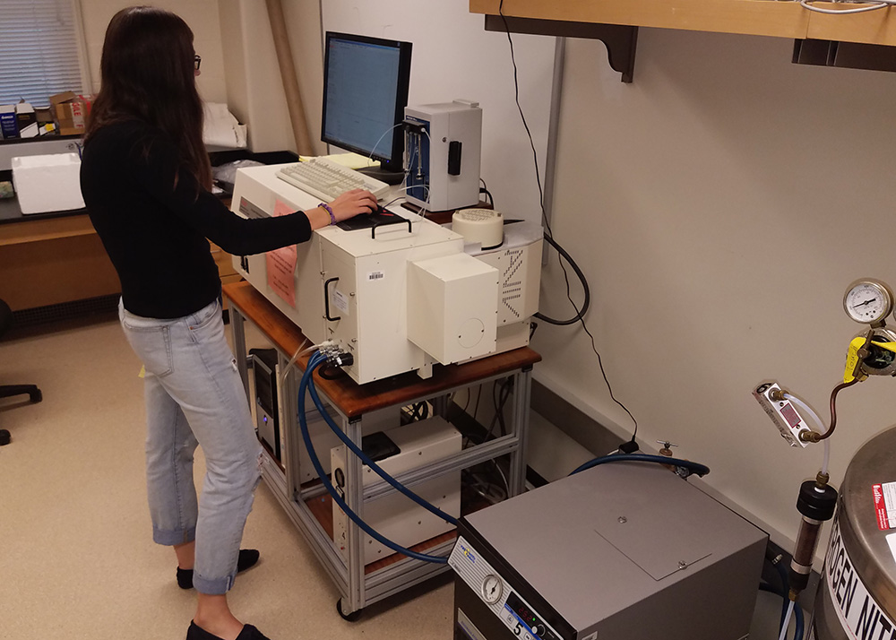 Alternate view of student using the Circular Dichroism Spectropolarimeter