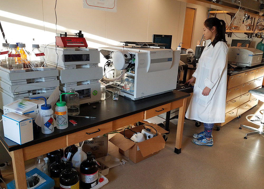 Student using the LC-mass spectrometer