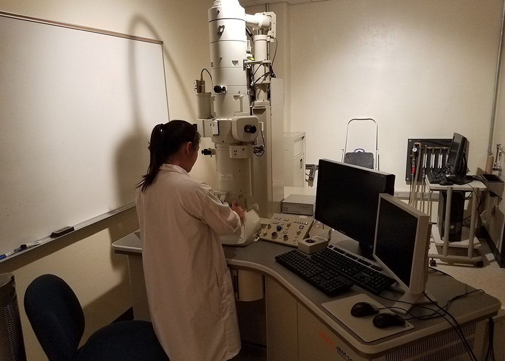 Alternate view of the Transmission Electron Microscope in use