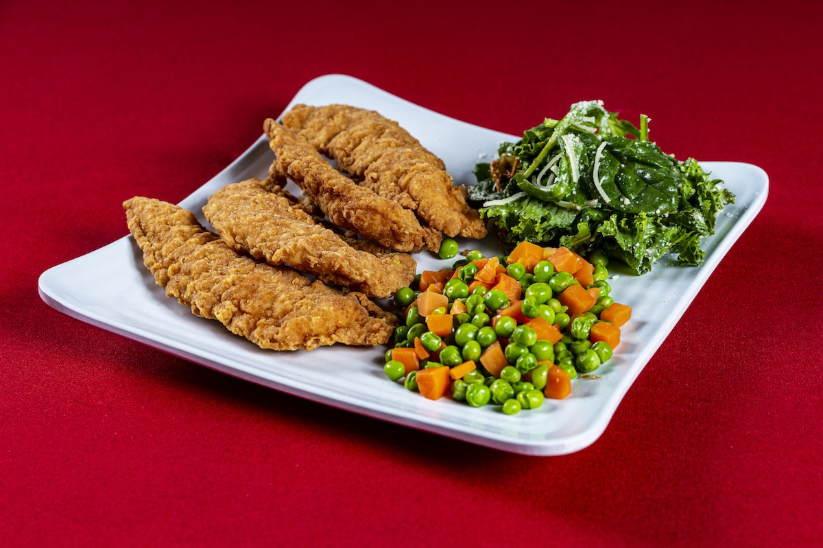 a plate of chicken strips