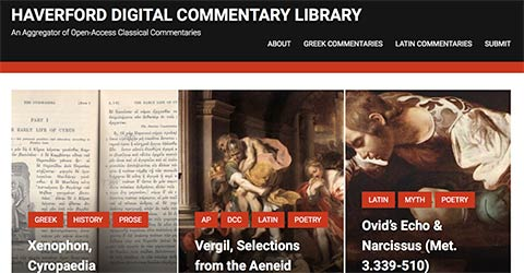 Screenshot of Digital Commentary Library website