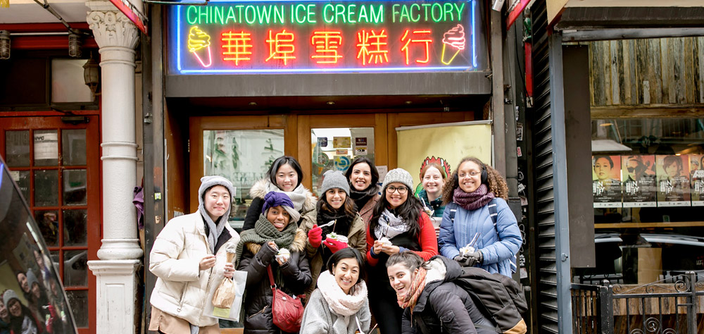 Students posing in front of the Chinatown Ice Cream Factory