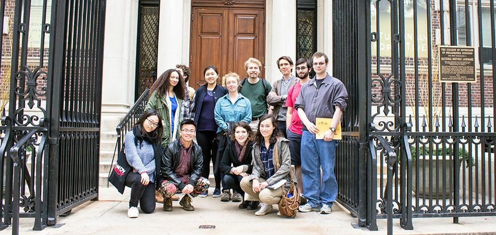 Students posing in front of the Mutter Museum