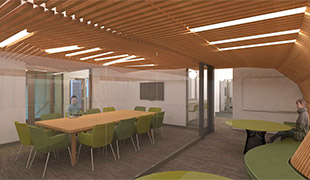 Concept drawing of seminar/flex and interactive spaces from pre-design phase.