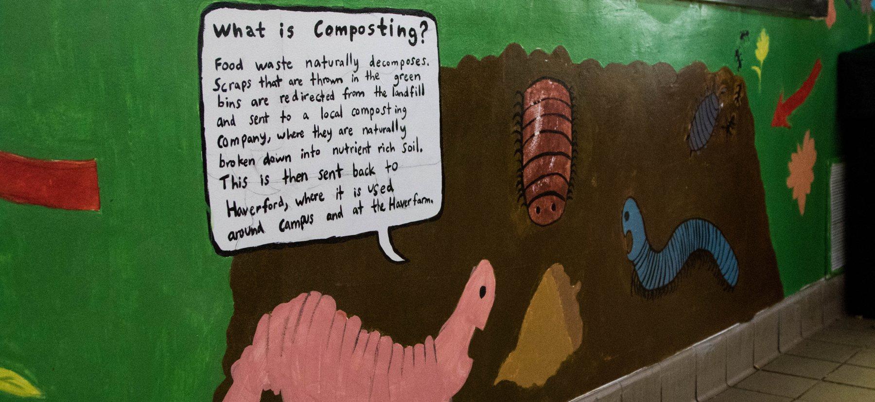 A cartoon worm painting describing composting to a cartoon bug and caterpillar.