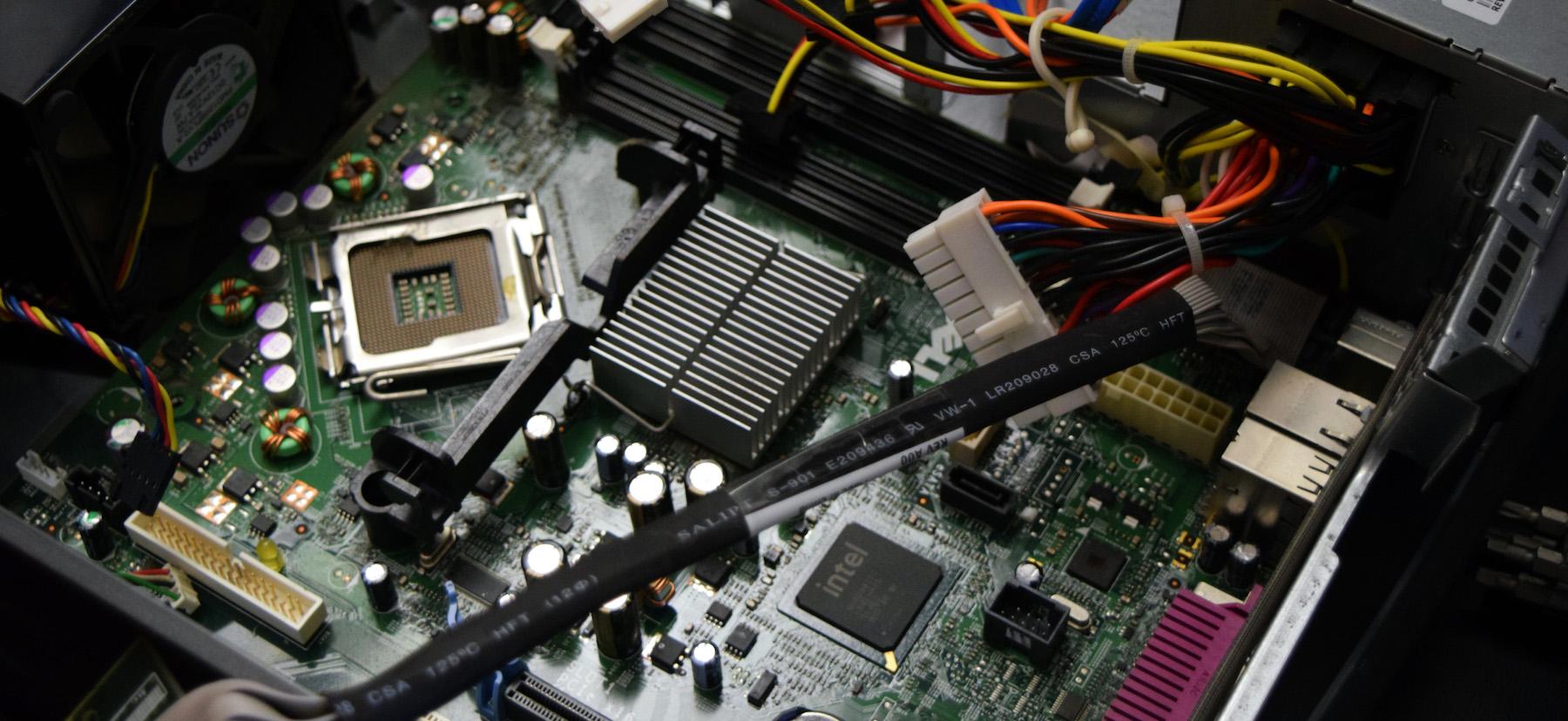 A dismantled computer