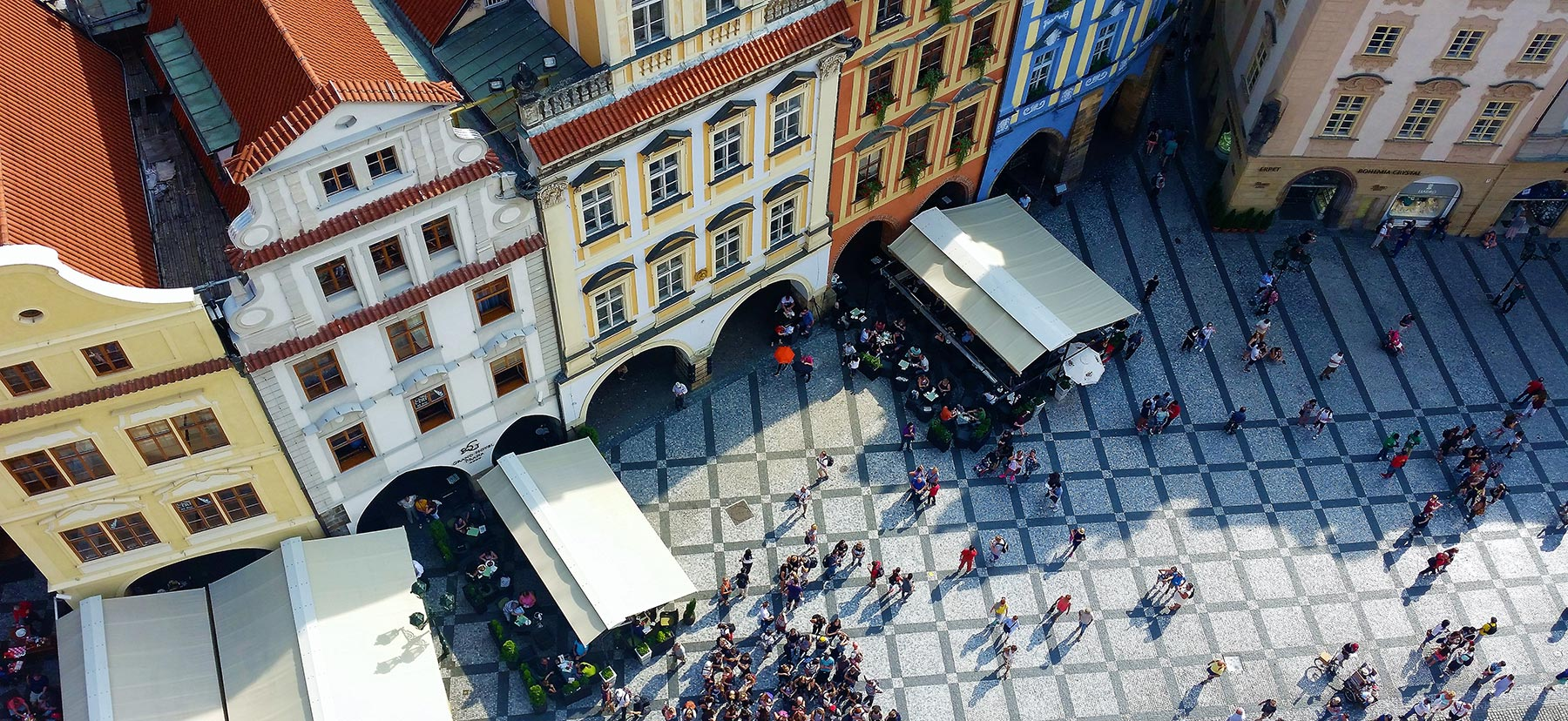 Overhead view of a bustling street in Prague