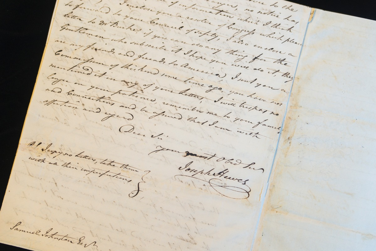 Letter from Joseph Hewes Letter (July 8, 1776)