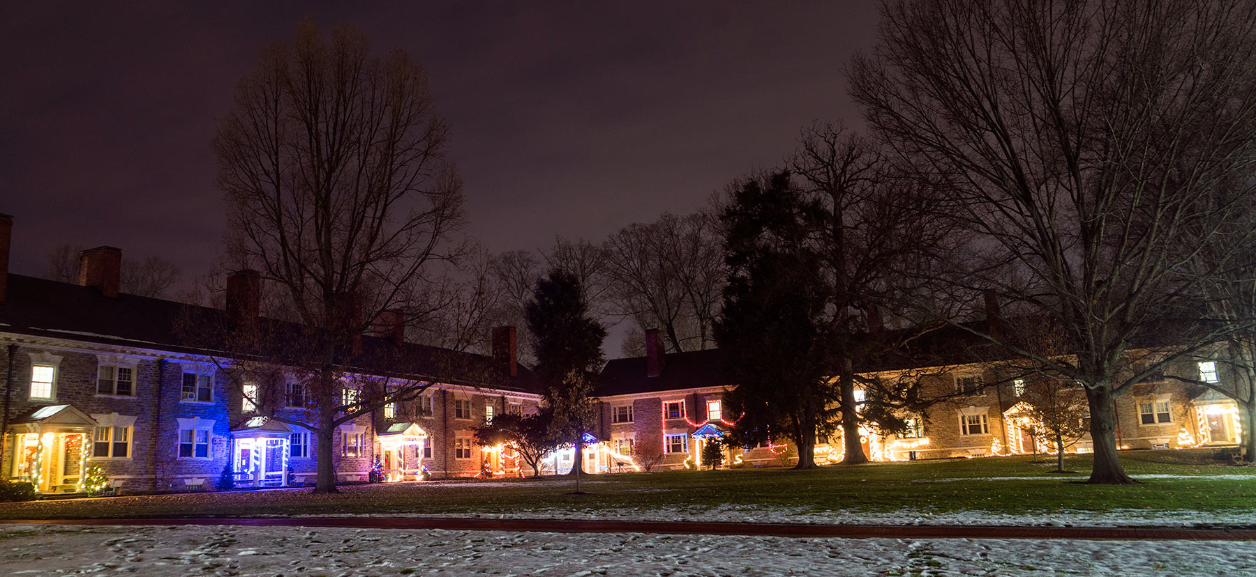 Lloyd dorms decorated for the holiday season