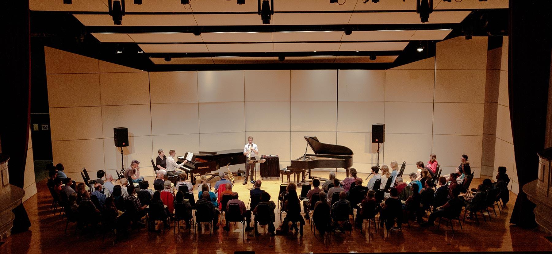 Saxaphone and piano duet in Marshall Auditorium