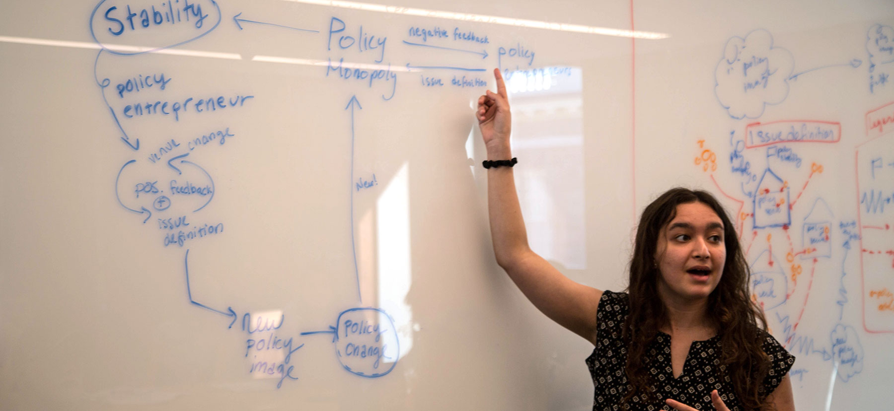 Lilian Feist stands in front of a whiteboard covered with writing while explaining her diagram