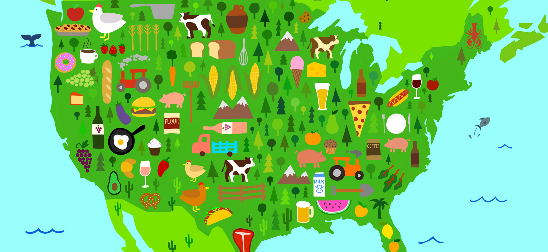 A hand-drawn map of the United States showing cartoon-like food items.