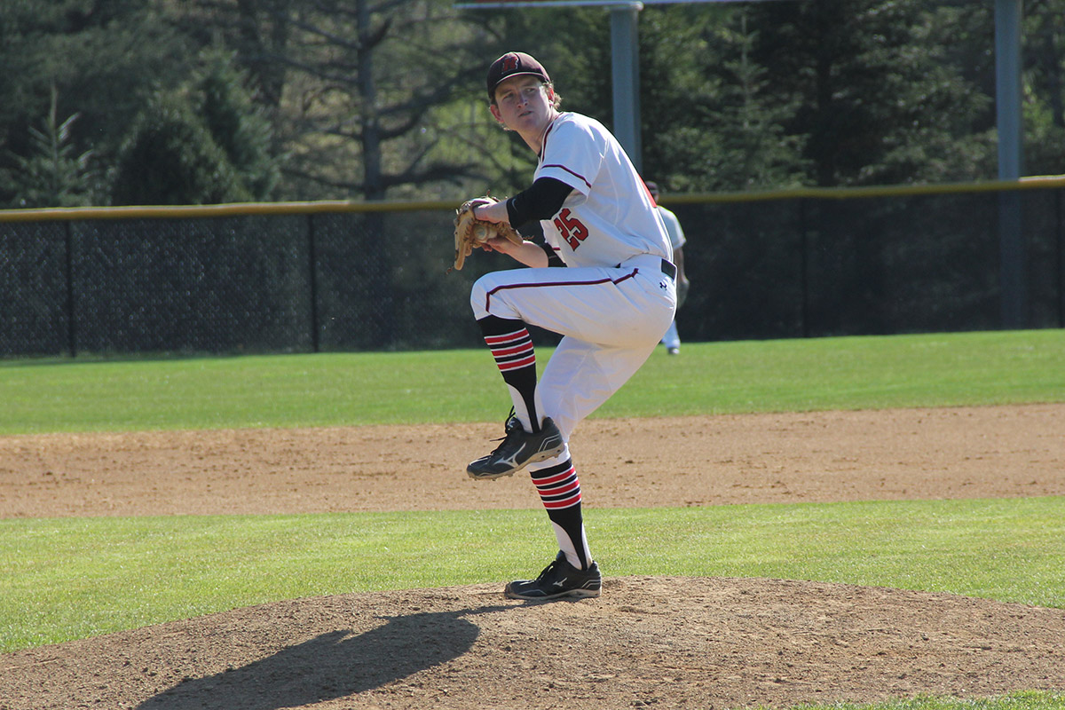 Baseball player Grant Finn winding up a pitch