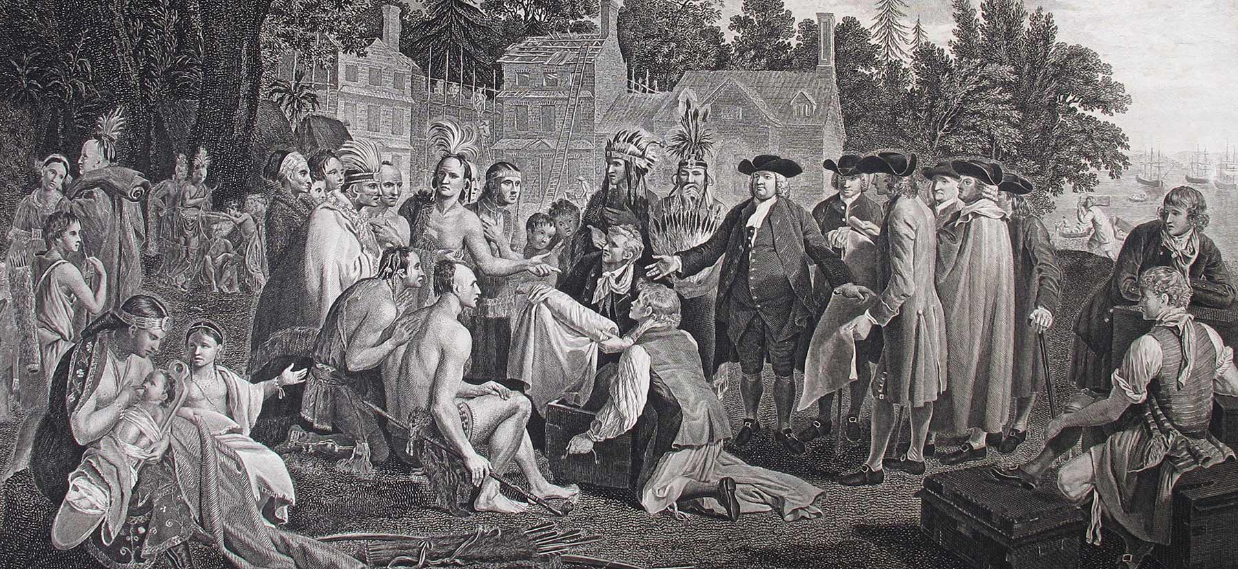 Drawing of Penn and native Americans meeting under the Penn Treaty Elm