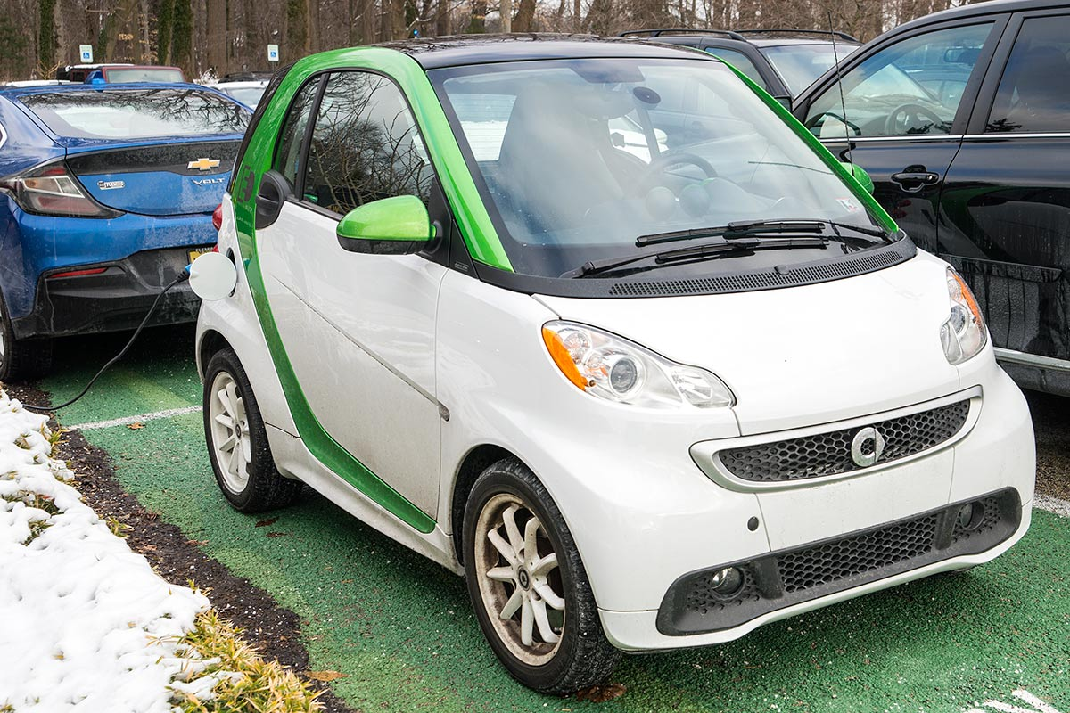 Electric car in parking spot on campus