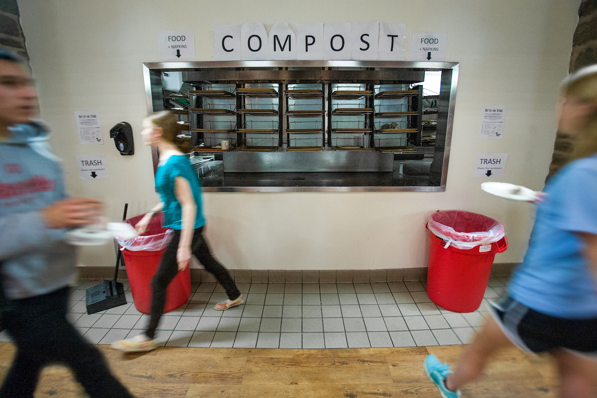 Compost sign inside the Dining Center