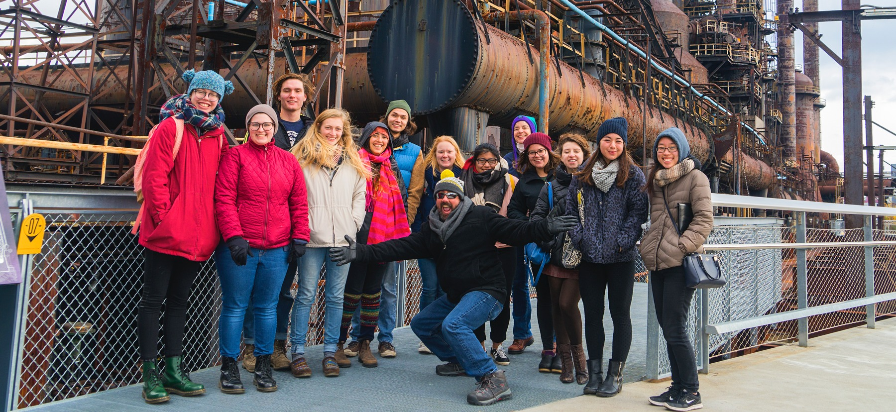 Group shot of students at steel mill