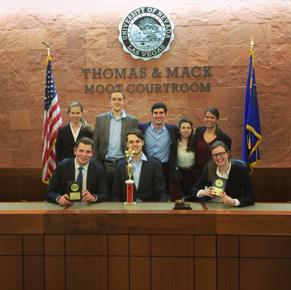 Mock trial members in a courtroom