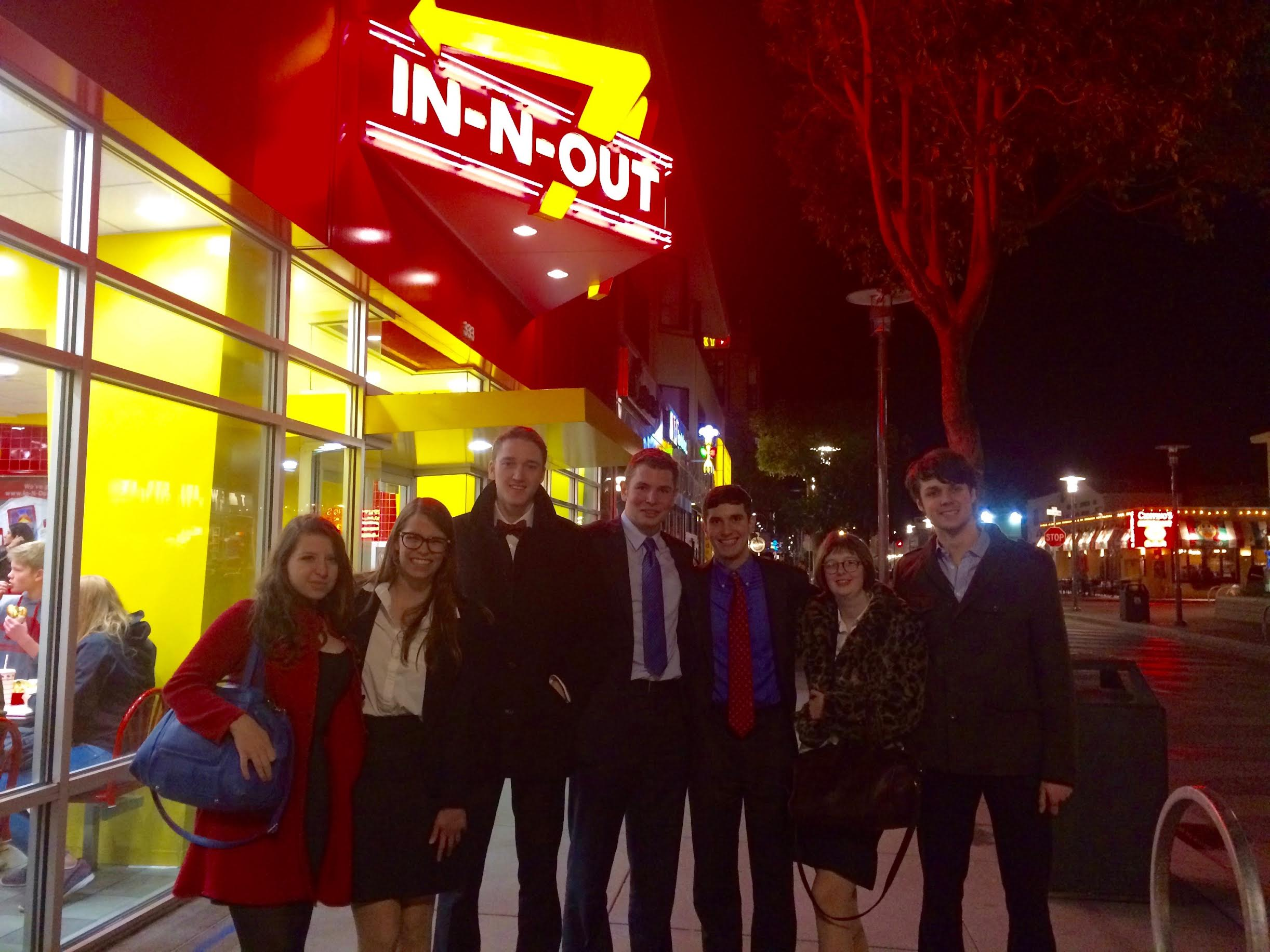 Mock Trial Group at In-n-Out at night