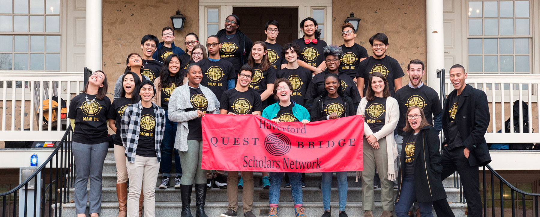 QuestBridge students pose with the Admission staff