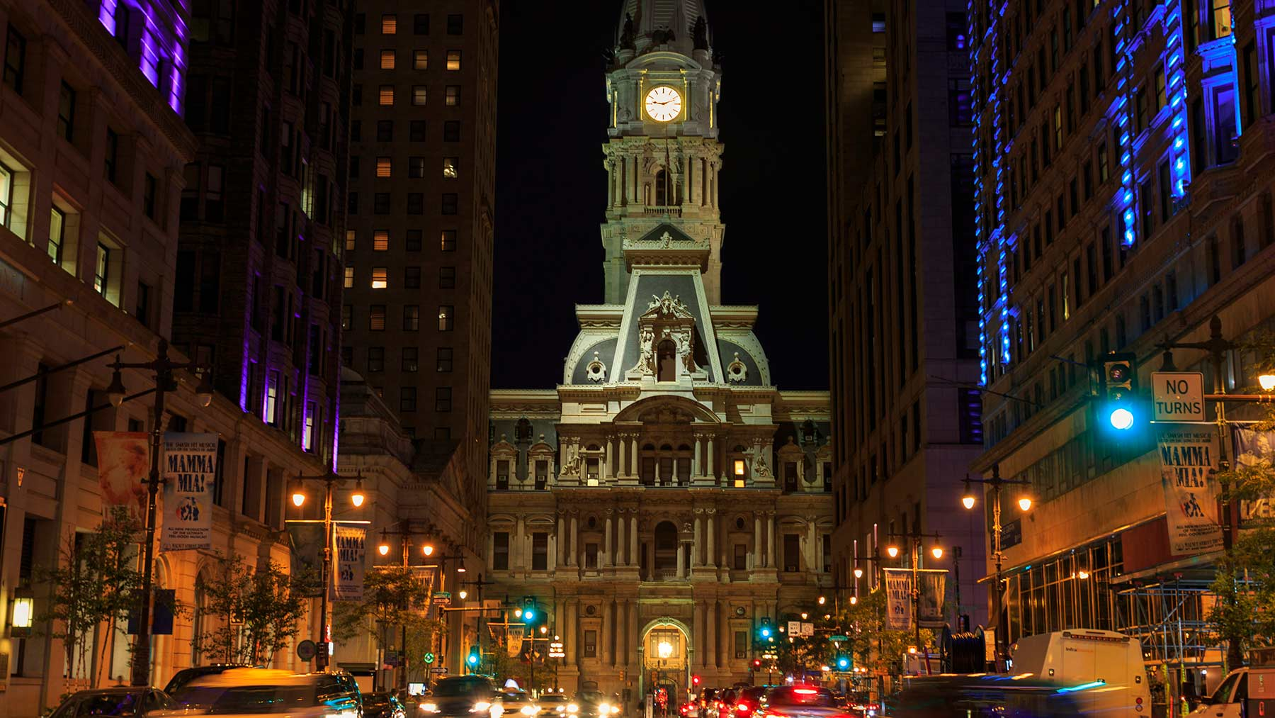 Broad Street in Philly at night