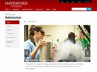 Screenshot of Haverford website