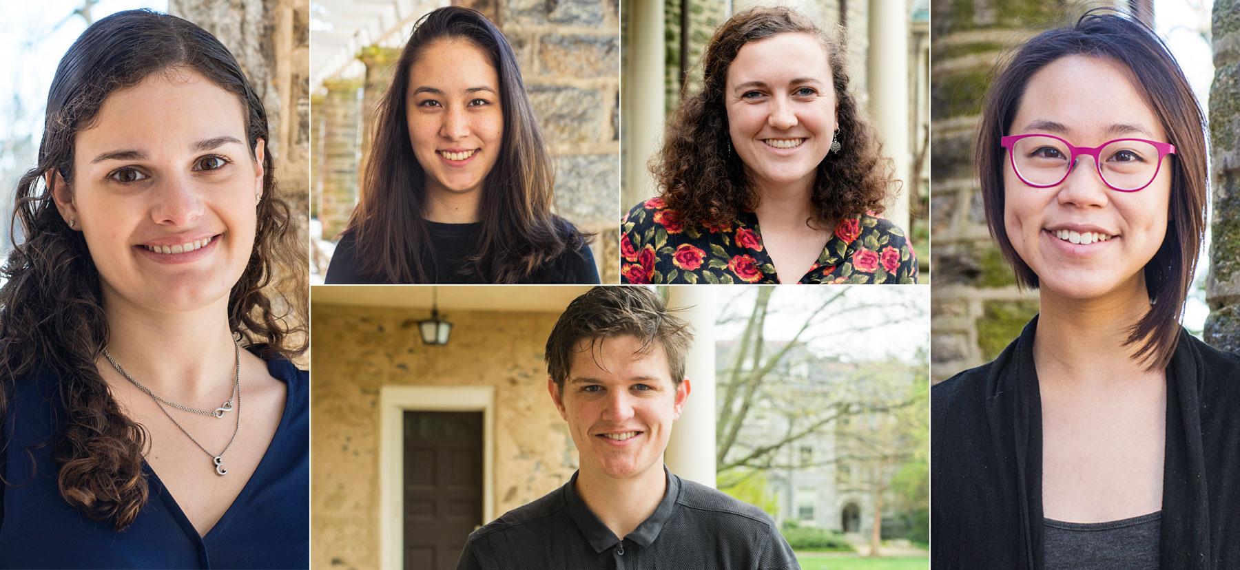 Headshots of five 2017/2018 Fulbright winners
