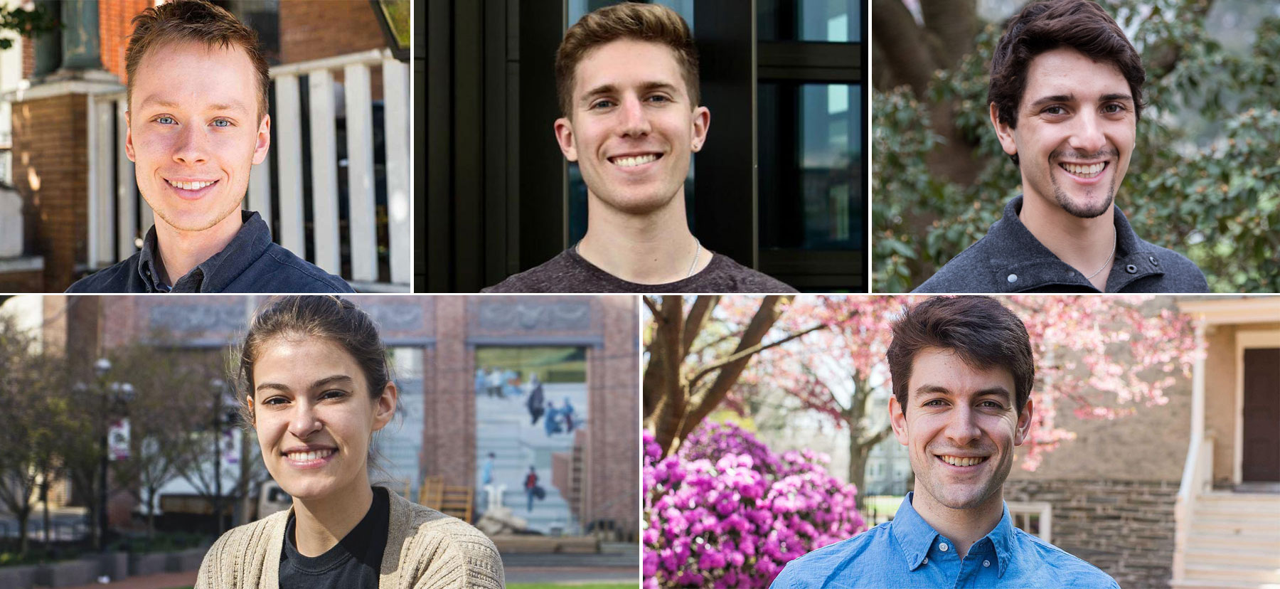 Headshots of the five Fulbright winners