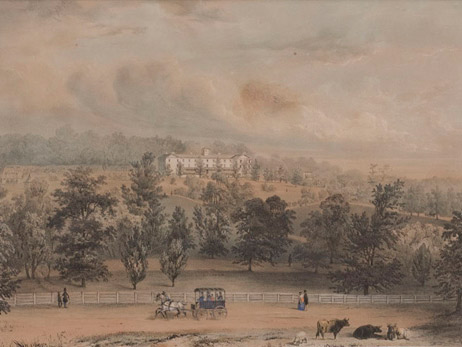Painting of Haverford's campus in the 1800s