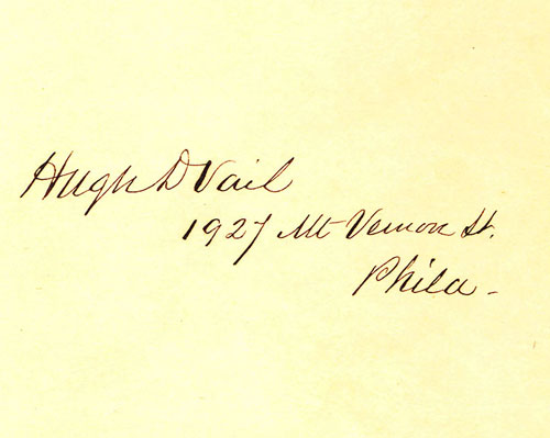 Sample of Hugh D. Vail's handwriting