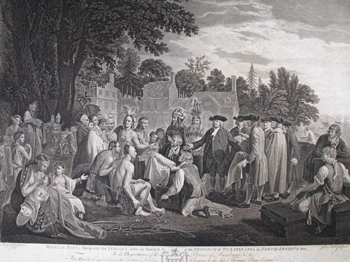 Drawing of William Penn signing treaty with Native Americans
