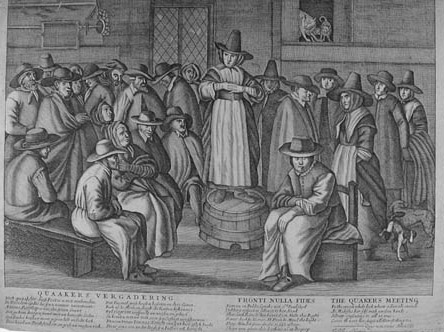Drawing of a Quaker meeting.