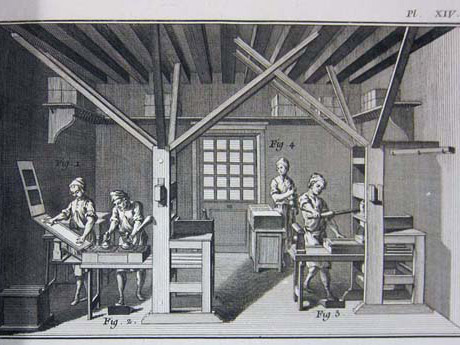 Illustration of a printing press in use