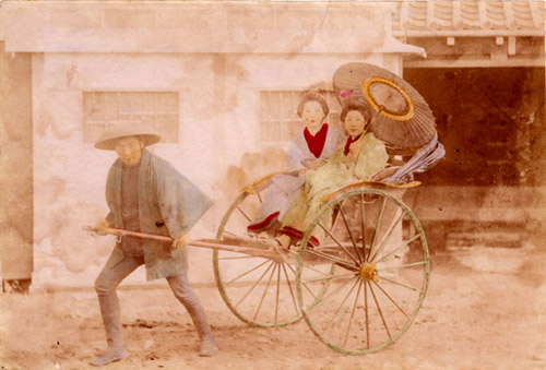 Painting of a rickshaw in use