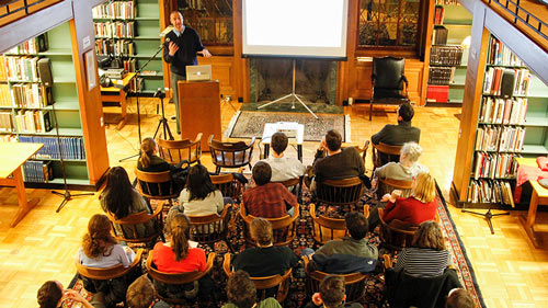 A Young Alumni Academic Lecture in the Phillip's Wing of the library