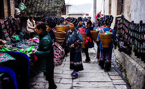 A side street market in China