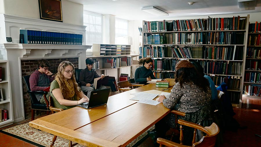Students studying inside the Music Library