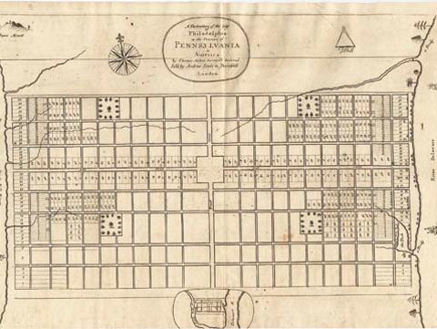 Hand drawn map of Philadelphia neighborhood