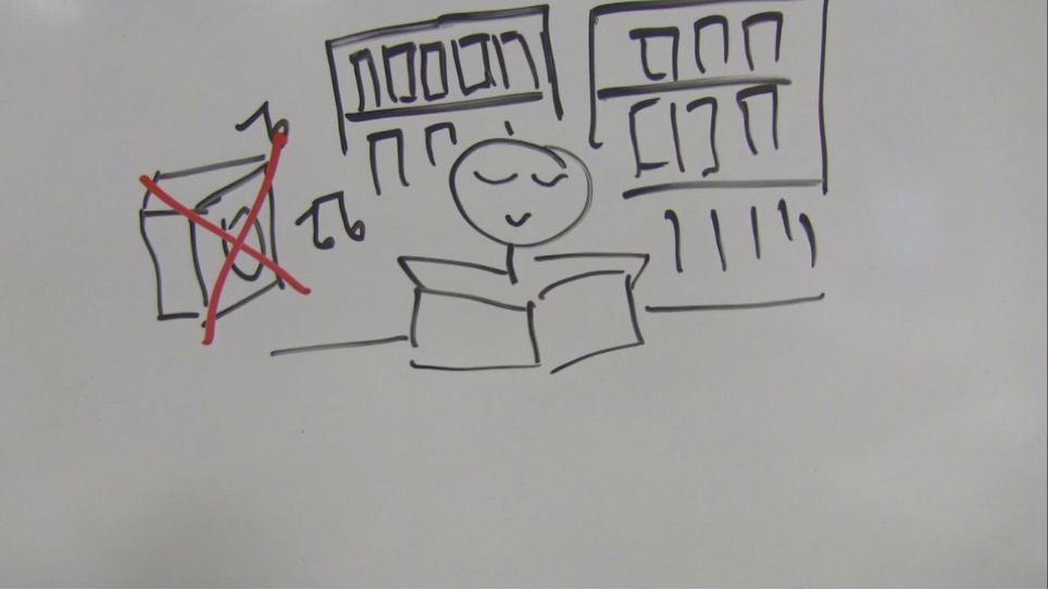 Stick drawing of student with stereo blasting