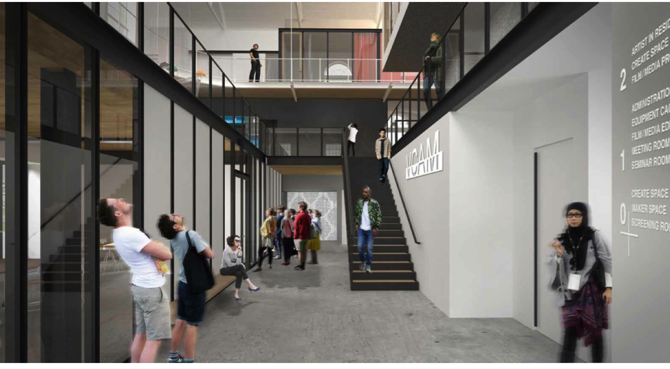 Artist rendering of interior of VCAM looking up from the lower level